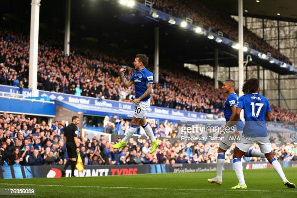 Bernard of Everton celebrates after scoring a goal to make it 10 during the Premier League match between Everton FC and West Ham United at Goodison...