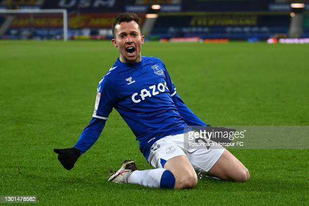 Bernard of Everton celebrates after scoring his team's fifth goal during The Emirates FA Cup Fifth Round match between Everton and Tottenham Hotspur...