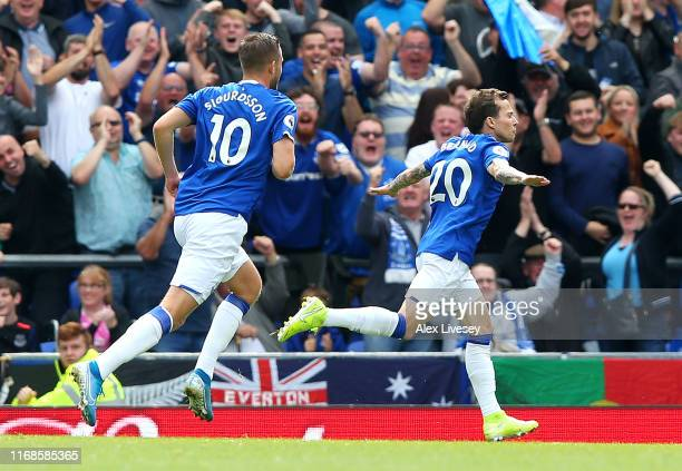 Bernard of Everton celebrates after scoring his team's first goal during the Premier League match between Everton FC and Watford FC at Goodison Park...