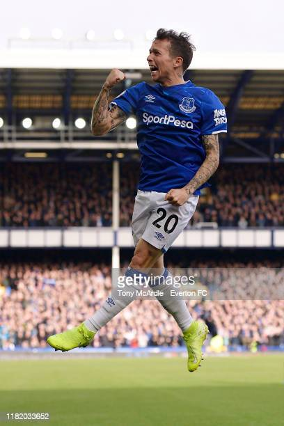 Bernard of Everton celebrates during the Premier League match between Everton and West Ham United at Goodison Park on October 19 2018 in Liverpool...