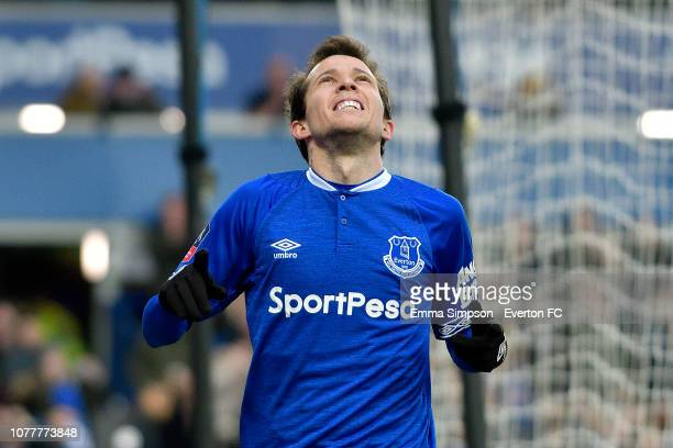 Bernard of Everton celebrates his goal during the Emirates FA Cup Third Round match between Everton and Lincoln City at Goodison Park on January 5...