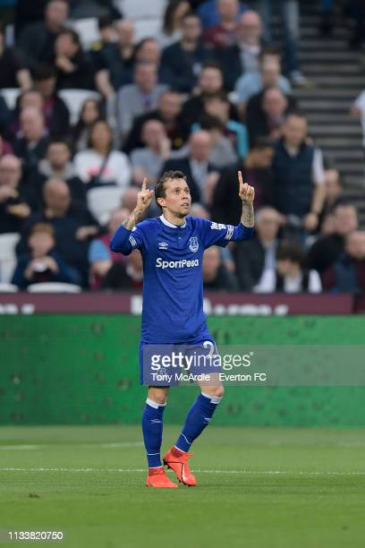 Bernard of Everton celebrates his goal during the Premier League match between West Ham United and Everton at London Stadium on March 30 2019 in...