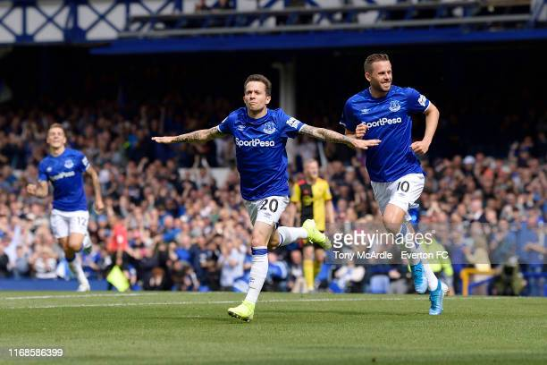 Bernard of Everton celebrates his goal during the Premier League match between Everton and Watford at Goodison Park on August 17 2019 in Liverpool...
