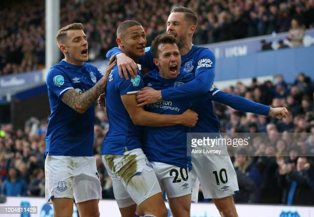 Bernard of Everton celebrates scoring his sides first goal with team mates during the Premier League match between Everton FC and Crystal Palace at...