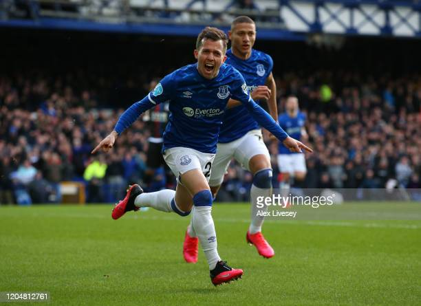 Bernard of Everton celebrates scoring his sides first goalduring the Premier League match between Everton FC and Crystal Palace at Goodison Park on...