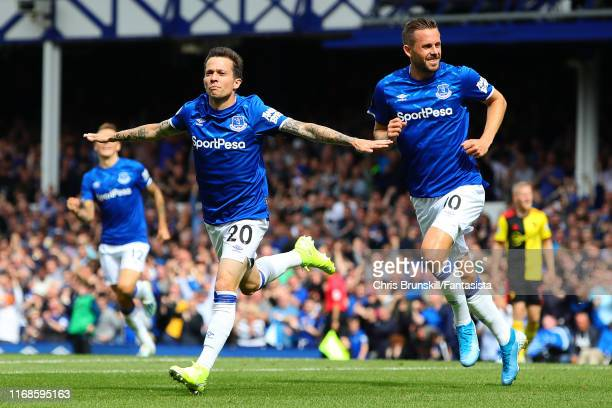 Bernard of Everton celebrates scoring the opening goal during the Premier League match between Everton FC and Watford FC at Goodison Park on August...
