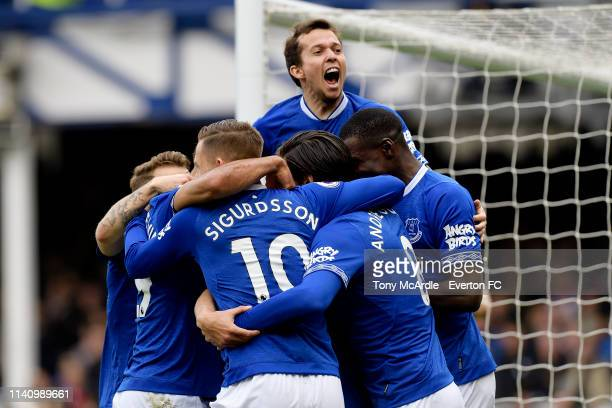 Bernard of Everton celebrates the goal of Phil Jagielka during the Premier League match between Everton and Arsenal at Goodison Park on April 7 2019...