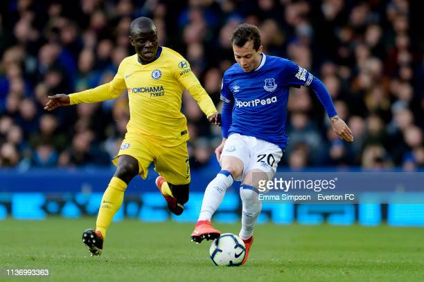 Bernard of Everton challenges for the ball with Ngolo Kante during the Premier League match between Everton and Chelsea at Goodison Park on March 17...