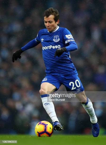 Bernard of Everton in action during the Premier League match between Manchester City and Everton FC at Etihad Stadium on December 15 2018 in...