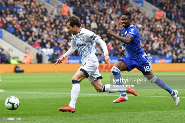 Bernard of Everton is challenged by Daniel Amartey of Leicester City during the Premier League match between Leicester City and Everton FC at The...