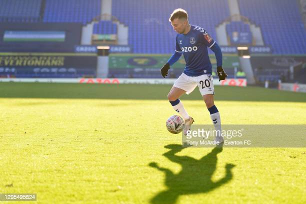 Bernard of Everton on the ball during the FA Cup Third Round match between Everton and Rotherham United at Goodison Park on January 9 2021 in...