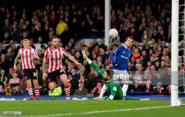 Bernard of Everton scores during the Emirates FA Cup Third Round match between Everton and Lincoln City at Goodison Park on January 5 2019 in...