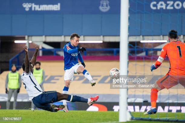 Bernard of Everton scores his teams fifth goal in extra time during The Emirates FA Cup Fifth Round match between Everton and Tottenham Hotspur at...