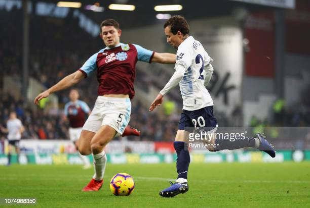 Bernard of Everton takes on James Tarkowski of Burnley during the Premier League match between Burnley FC and Everton FC at Turf Moor on December 26...