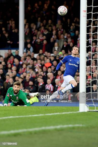 Bernard of Everton with watches the ball into the net during the Emirates FA Cup Third Round match between Everton and Lincoln City at Goodison Park...