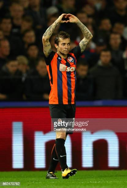 Bernard of Shakhtar Donetsk celebrates scoring his sides first goal during the UEFA Champions League group F match between Feyenoord and Shakhtar...