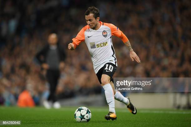 Bernard of Shakhtar Donetsk in action during the UEFA Champions League Group F match between Manchester City and Shakhtar Donetsk at Etihad Stadium...