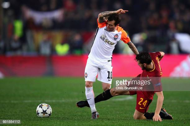 Bernard of Shakhtar Donetsk is challenged by Alessandro Florenzi of AS Roma during the UEFA Champions League Round of 16 Second Leg match between AS...