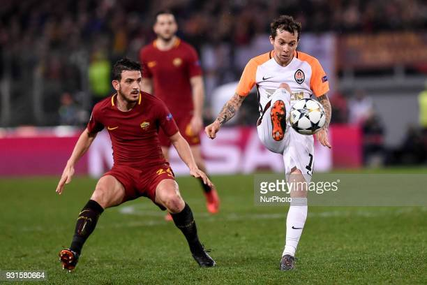 Bernard of Shakhtar Donetsk is challenged by Alessandro Florenzi of Roma during the UEFA Champions League Round of 16 match between Roma and Shakhtar...