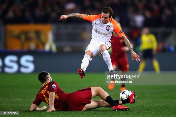 Bernard of Shakhtar Donetsk leaps after a challenge from Kostas Manolas of AS Roma during the UEFA Champions League Round of 16 Second Leg match...