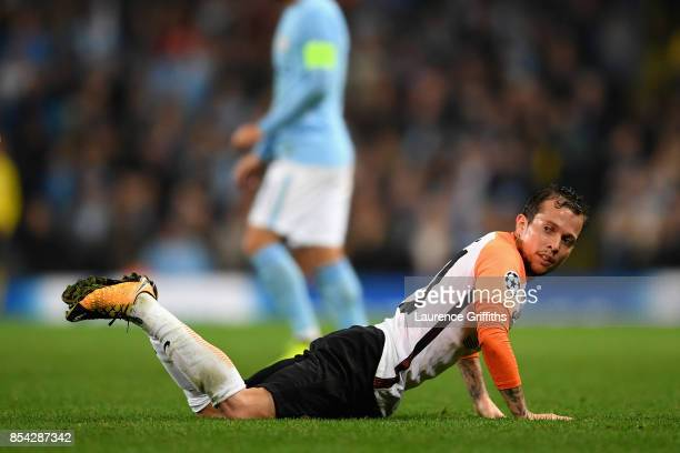 Bernard of Shakhtar Donetsk reacts during the UEFA Champions League Group F match between Manchester City and Shakhtar Donetsk at Etihad Stadium on...