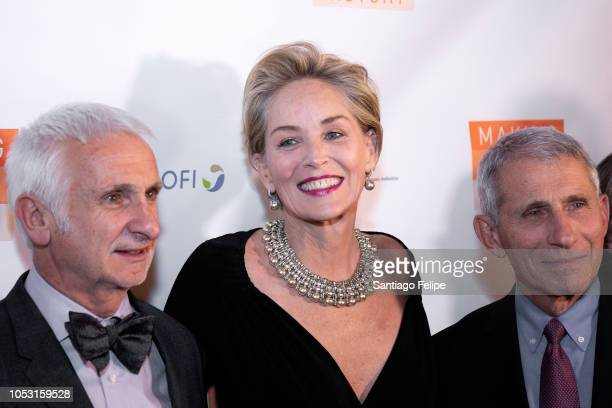 Bernard Pecoul Sharon Stone and Dr Anthony Fauci attend the Drugs For Neglected Diseases Initiative's Inaugural Making Medical History Gala at The...