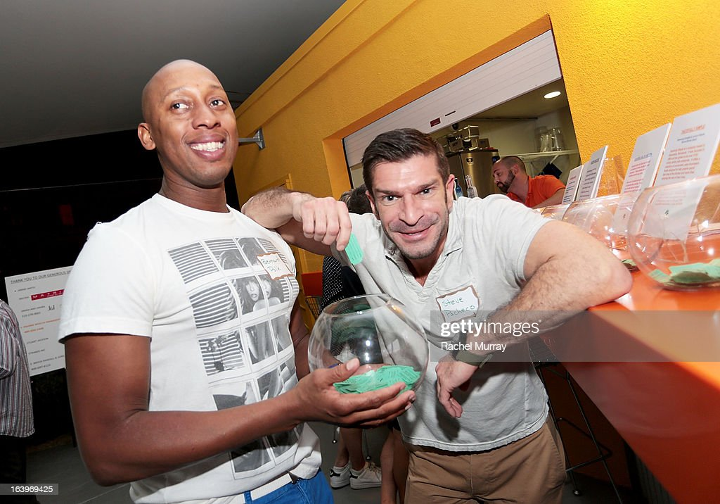 Bernard Polk (L) and Steve Pacheco attend the Tequila Tasting during the Bash To Banish Bullying Benefiting It Gets Better, a Matrix Chairs Of Change Event - Day 1 at Saguaro Hotel on March 16, 2013 in Palm Springs, California.
