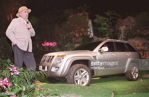 Bernard Robertson of the Daimler Chrysler Corporation introduces the Jeep Commander Concept Vehicle at a press conference 29 December at Paramount...