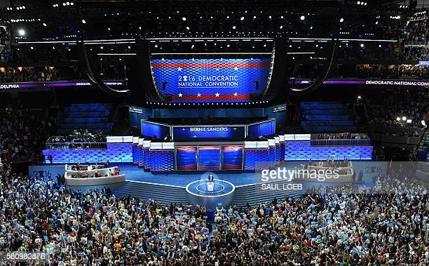Bernard Sanders addresses delegates on Day 1 of the National Convention at the Wells Fargo Center in Philadelphia Pennsylvania July 25 2016 / AFP /...