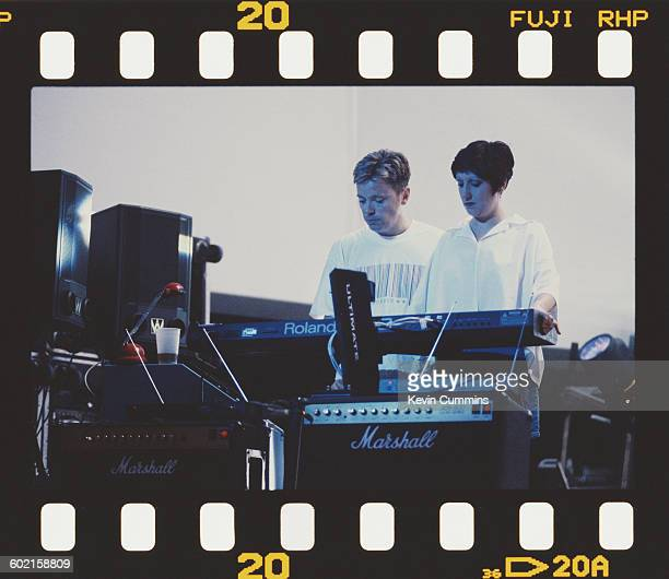 Bernard Sumner and Gillian Gilbert performing with English rock group New Order at the Merriweather Post Pavillion Washington DC 2nd August 1993