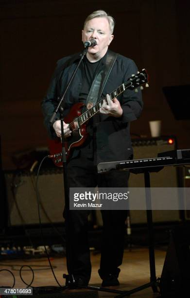 Bernard Sumner of New Order performs during the 2014 Tibet House Benefit concert at Carnegie Hall on March 11 2014 in New York City