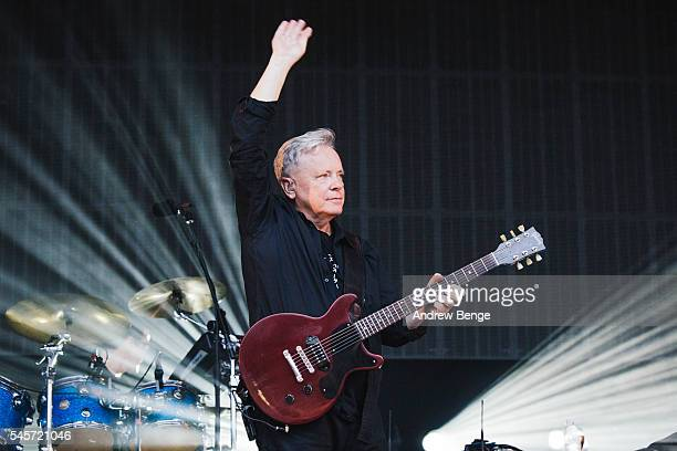 Bernard Sumner of New Order performs on stage at Castlefield Bowl on July 9 2016 in Manchester England