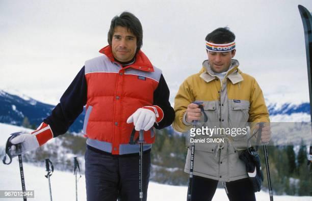 Bernard Tapie et Bernard Hinault aux Arcs le 15 janvier 1984, France.