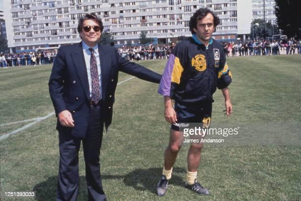 Bernard Tapie et Michel Platini lors du match de football du Variety Club à Montfermeil