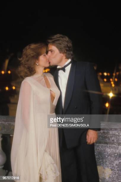 Bernard Tapie et sa femme Dominique au mariage de Yves Mourousi le 28 spetembre 1985 à Nimes France
