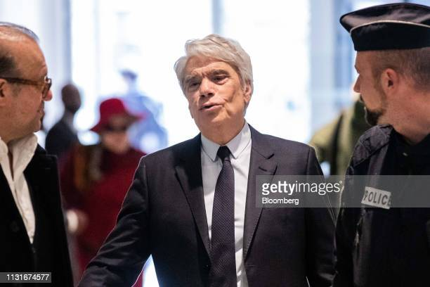 Bernard Tapie, French businessman, arrives at Porte de Clichy courthouse in Paris, France, on Wednesday, March 20, 2019. The criminal trial of Tapie...