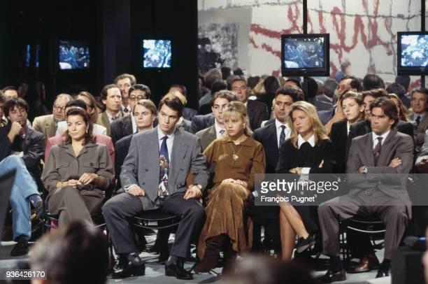 Bernard Tapie guest of tv program L'heure de vérité From left to right Dominique Tapie Laurent Tapie with his wife 10th October 1993