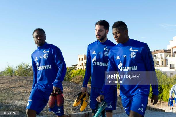 Bernard Tekpetey of Schalke Pablo Insua of Schalke and Breel Embolo of Schalke look on during the FC Schalke 04 training camp at Hotel Melia...