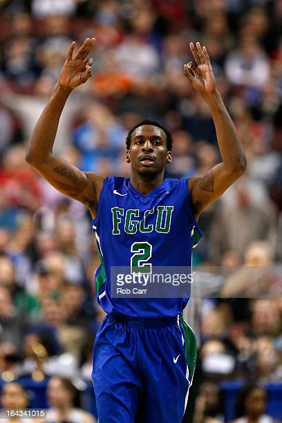 Bernard Thompson of the Florida Gulf Coast Eagles reacts after he made a 3-point basket in the first half against the Georgetown Hoyas during the...