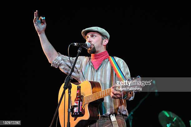 Bernard Thresher of the Lancashire Hotpots live on stage at Doncaster Rocks on July 25 2009