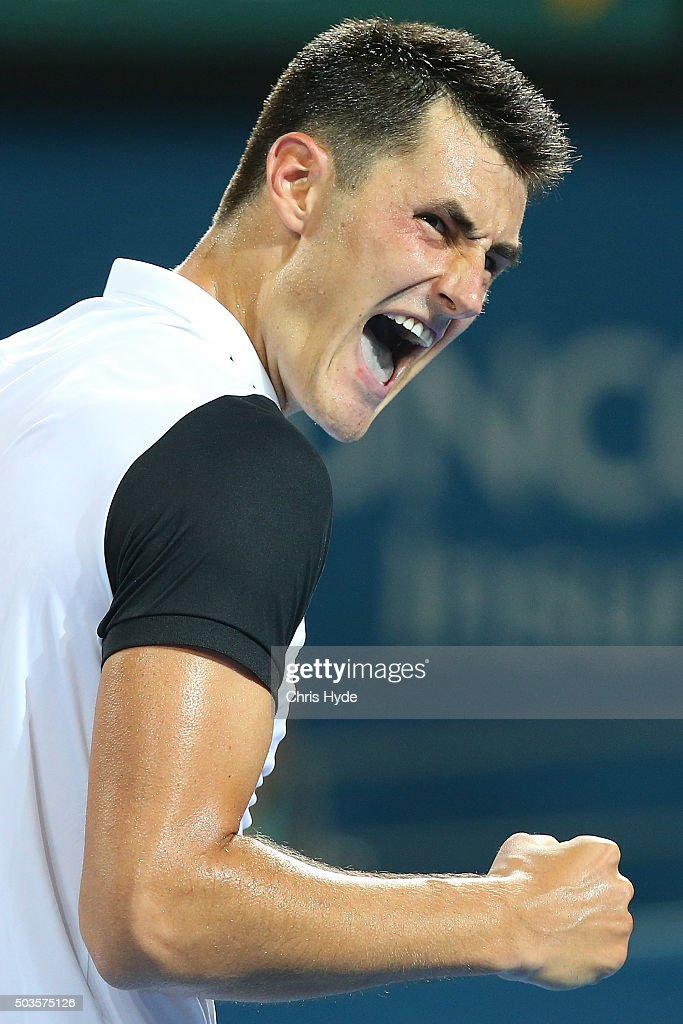 Bernard Tomic of Australia celebrates a point in his match against Radek Stepanek of the Czech Republic during day four of the 2016 Brisbane International at Pat Rafter Arena on January 6, 2016 in Brisbane, Australia.