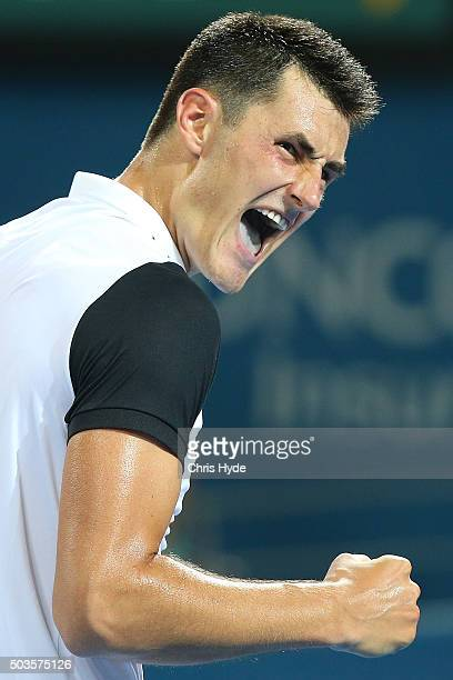 Bernard Tomic of Australia celebrates a point in his match against Radek Stepanek of the Czech Republic during day four of the 2016 Brisbane...