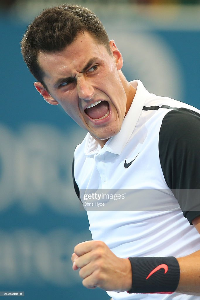 Bernard Tomic of Australia celebrates a point in his quarter final matach against Kei Nishikori of Japan during day six of the 2016 Brisbane International at Pat Rafter Arena on January 8, 2016 in Brisbane, Australia.