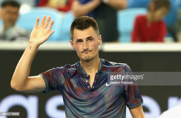 Bernard Tomic of Australia celebrates a win as he competes in his second round match against Tommy Paul of United States during 2018 Australian Open...