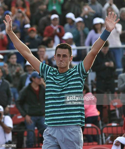 Bernard Tomic of Australia celebrates after winning a tennis match against Ivo Karlovic of Croatia as part of ATP Claro Open Colombia Final on July...