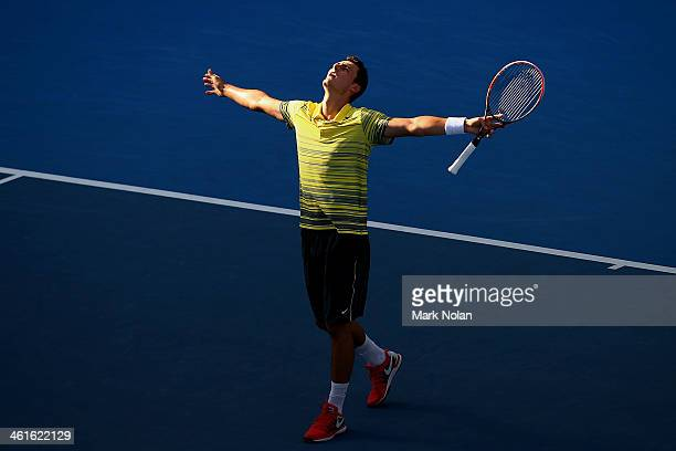 Bernard Tomic of Australia celebrates victory in his semi final against Sergiy Stakhovsky of the Ukraine during day six of the Sydney International...