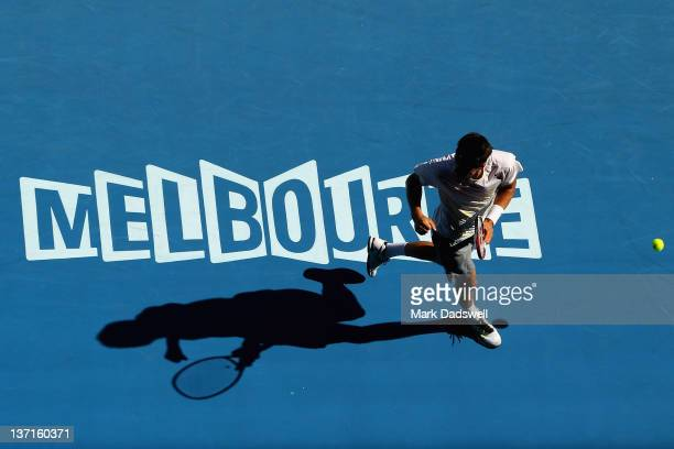 Bernard Tomic of Australia celebrates winning a point in his first round match against Fernando Verdasco of Spain during day one of the 2012...