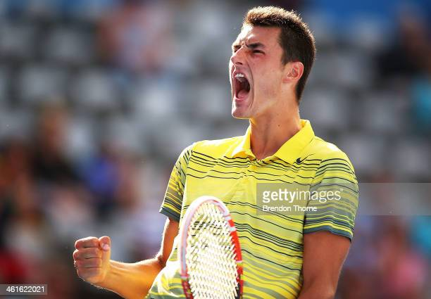 Bernard Tomic of Australia celebrates winning a point in his semi final match against Sergiy Stakhovsky of the Ukraine during day six of the Sydney...