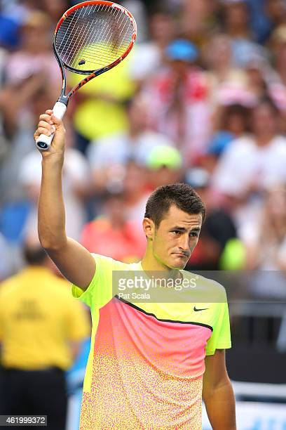 Bernard Tomic of Australia celebrates winning in his third round match against Samuel Groth of Australia during day five of the 2015 Australian Open...