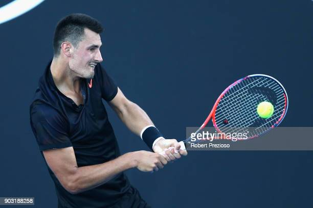 Bernard Tomic of Australia competes in his first round match against Vincent Millot of France during 2018 Australian Open Qualifying at Melbourne...